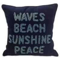 Beach Waves Square Indoor/Outdoor Throw Pillow in Navy
