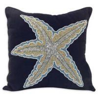 Beaded Starfish Square Indoor/Outdoor Throw Pillow in Navy
