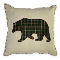 Bear Applique Square Throw Pillow in Natural
