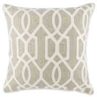 Spa Embroidered Geometric Square Throw Pillow in Grey