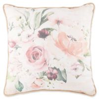Floral Print Square Throw Pillow in White/Red
