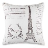 Paris Print Square Throw PIllow in Grey