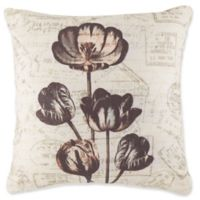 Floral Print Square Throw PIllow in Grey