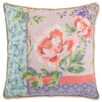 Off Center Floral Print Square Throw PIllow in Red/Green