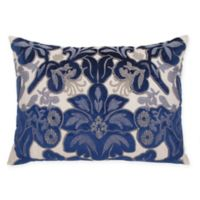 Velvet Damask Oblong Throw Pillow in Royal Blue