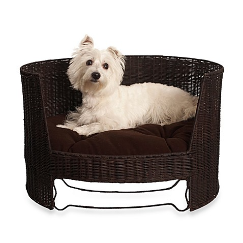 The Refined Canine™ Wicker Dog Day Bed with Indoor Cushion