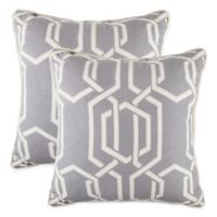 Deco Fret Square Throw Pillows in Grey (Set of 2)