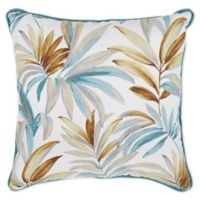 Tropical Leaves Square Throw Pillow in Teal