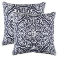 Classic Medallion Square Throw Pillows in Navy (Set of 2)