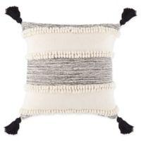 Stripe Tassel Square Throw Pillow in Black