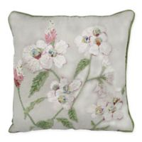 Floral Embroidered Square Throw Pillow in Green