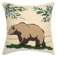 Rizzy Home Bear Square Throw Pillow in Natural