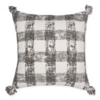 Plaid Square Throw Pillow in White/Charcoal
