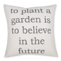 """""""To Plant a Garden"""" Square Throw Pillow in Ivory/Black"""