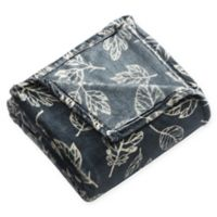 Falling Leaves Plush Throw Blanket in Blue