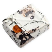 Woodland Critters Plush Throw Blanket in White