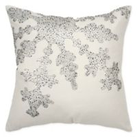 Rizzy Home Snowflake Square Throw Pillow in Ivory/Silver