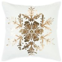 Rizzy Home Snowflake Square Throw Pillow in White/Gold