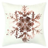Rizzy Home Snowflake Square Throw Pillow in White/Copper