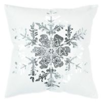 Rizzy Home Snowflake Square Throw Pillow in White/Silver