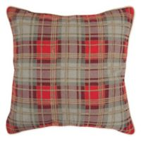 Rizzy Home Woven Plaid Square Throw Pillow in Grey/Red