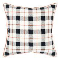 Rizzy Home Woven Plaid Square Throw Pillow in Black/White/Orange