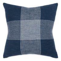 Rizzy Home Woven Plaid Square Throw Pillow in Indigo/White