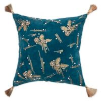 Rizzy Home Abstract 18-Inch Square Throw Pillow in Dark Teal
