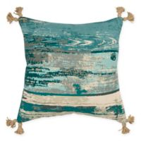 Rizzy Home Abstract 20-Inch Square Throw Pillow in Teal/Natural