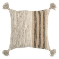 Rizzy Home Stripe Reversible Square Throw Pillow in Grey/Black