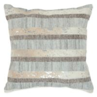 Rizzy Home Stripe Reversible Square Throw Pillow in Natural/Grey