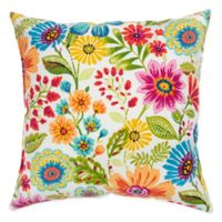 Rizzy Home Floral Square Throw Pillow in Hot Pink/Tangerine