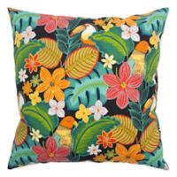 Rizzy Home Floral Square Throw Pillow in Tangerine/Black
