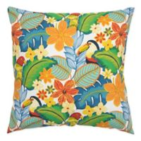 Rizzy Home Floral Square Throw Pillow in Tangerine/Yellow