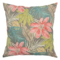 Rizzy Home Floral Square Throw Pillow in Coral/Teal