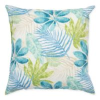 Rizzy Home Floral Square Throw Pillow in Teal
