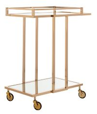 Safavieh Capri Mirrored Bar Cart in Gold