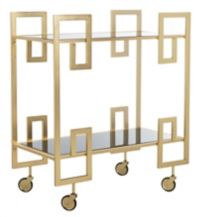 Safavieh Eliza Mirrored Bar Cart in Brass/Black