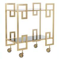 Safavieh Eliza Mirrored Bar Cart in Brass/Black