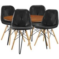 Forest Gate Eames 5-Piece Midcentury Modern Dining Set in Black