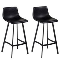 Southern Enterprises Mayott Faux Leather Bar Stools in Black (Set of 2)
