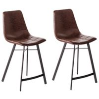 Southern Enterprises Rabideau Faux Leather Counter Stools in Caramel (Set of 2)