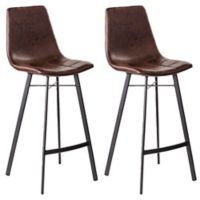 Southern Enterprises Rabideau Faux Leather Bar Stools in Caramel (Set of 2)
