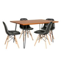 Forest Gate™ Eames 5-Piece Dining Set in Black/Walnut