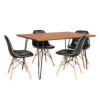 Forest Gate™ Eames 5-Piece Dining Set in Black/Walnut
