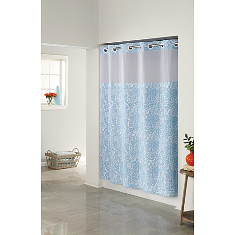 Hookless Helena Bay Blue 71 W X 74 L Shower Fabric Curtain And Liner Set Bed Bath Beyond