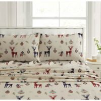 Tribeca Living Reindeer 200-Thread-Count Flannel Sheet Set in Ivory