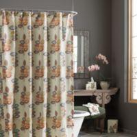 CroscillR Mosaic Leaves 54 Inch X 78 Stall Fabric Shower Curtain