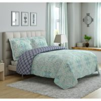 Peach & Oak Hannah Ogee 2-Piece Reversible Twin Comforter Set in Teal