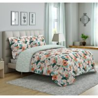 Peach & Oak Cambridge Floral Print 3-Piece Reversible King Comforter Set in Orange